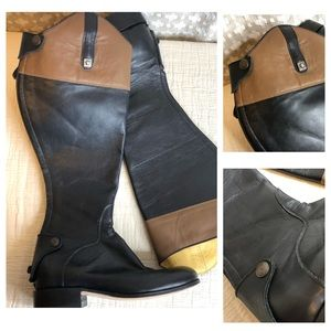 HANDMADE Leather Riding Boots Brown Black Zip Back